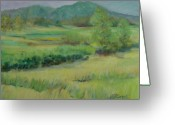 Sunflower Studio Art Greeting Cards - Valley Ranch Rural Western Landscape Greeting Card by K Joann Russell