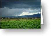 Storm Prints Greeting Cards - Valley Storm Greeting Card by Wendy McKennon
