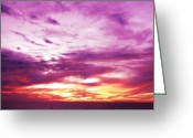 Purple Sky Greeting Cards - Valor Greeting Card by Molly McPherson