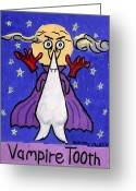 Purples Mixed Media Greeting Cards - Vampire Tooth Greeting Card by Anthony Falbo