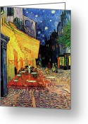 Post-impressionist Greeting Cards - Van Gogh Cafe Terrace Place du Forum at Night Greeting Card by Vincent Van Gogh