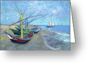 Art Education Greeting Cards - Van Gogh Fishing Boats Saintes Maries Greeting Card by Vincent Van Gogh