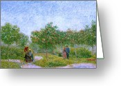 Art Education Greeting Cards - Van Gogh Garden in Montmartre with Lovers Greeting Card by Vincent Van Gogh