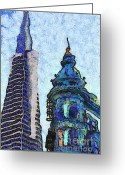 Little Italy Greeting Cards - Van Gogh Is Mesmerized By The Transamerica Pyramid and The Columbus Tower 7d7433 Greeting Card by Wingsdomain Art and Photography