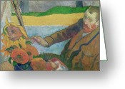 Van Painting Greeting Cards - Van Gogh painting Sunflowers Greeting Card by Paul Gauguin