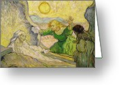 Art Education Greeting Cards - Van Gogh Raising of Lazarus after Rembrandt Greeting Card by Vincent Van Gogh