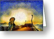 Berkeley Greeting Cards - Van Gogh Screams On The Berkeley Pier Under a Starry Night . IMG3188 Greeting Card by Wingsdomain Art and Photography