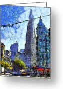 Little Italy Greeting Cards - Van Gogh Sips Absinthe And Takes In The Views From North Beach in San Francisco . 7D7431 Greeting Card by Wingsdomain Art and Photography