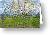 Post-impressionist Greeting Cards - Van Gogh The Pink Orchard Greeting Card by Vincent Van Gogh