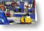 Vehicles Digital Art Greeting Cards - Van Gogh Tours The Streets of San Francisco 7D14100 Greeting Card by Wingsdomain Art and Photography