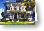 Vintage House Greeting Cards - Van Gogh Visits The Old Victorian Camron-Stanford House in Oakland California . 7D13440 Greeting Card by Wingsdomain Art and Photography