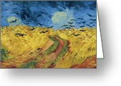 Art Education Greeting Cards - Van Gogh Wheatfield with Crows Greeting Card by Vincent Van Gogh