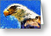 July 4 Greeting Cards - Van Gogh.s American Eagle Under A Starry Night . 40D6715 Greeting Card by Wingsdomain Art and Photography