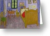 Floor Painting Greeting Cards - Van Goghs Bedroom at Arles Greeting Card by Vincent Van Gogh