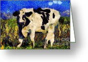 Nights Greeting Cards - Van Gogh.s Big Bull . 7D12437 Greeting Card by Wingsdomain Art and Photography