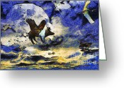 Flying Pigs Greeting Cards - Van Gogh.s Flying Pig 2 Greeting Card by Wingsdomain Art and Photography