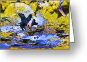 Goose Digital Art Greeting Cards - Van Gogh.s Flying Pig 3 Greeting Card by Wingsdomain Art and Photography