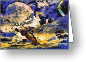 Goose Digital Art Greeting Cards - Van Gogh.s Flying Pig Greeting Card by Wingsdomain Art and Photography