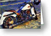 Cycles Digital Art Greeting Cards - Van Gogh.s Harley-Davidson 7D12757 Greeting Card by Wingsdomain Art and Photography