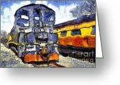 Tanker Train Greeting Cards - Van Gogh.s Locomotive . 7D11588 Greeting Card by Wingsdomain Art and Photography