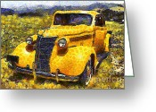 Vehicles Digital Art Greeting Cards - Van Gogh.s Old Ride 7d15315 Greeting Card by Wingsdomain Art and Photography