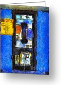 Impressionist Digital Art Greeting Cards - Van Gogh.s Pay Phone . 7D15934 Greeting Card by Wingsdomain Art and Photography