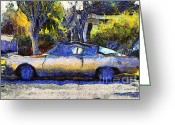 Transportation Digital Art Greeting Cards - Van Gogh.s Plymouth Barracuda in Suburbia . 7D12724 Greeting Card by Wingsdomain Art and Photography