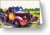 Old Trucks  Greeting Cards - Van Gogh.s Rusty Old Jalopy . 7D15500 Greeting Card by Wingsdomain Art and Photography
