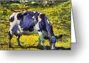 Rural Landscapes Greeting Cards - Van Gogh.s Starry Blue Cow . 7D16140 Greeting Card by Wingsdomain Art and Photography