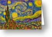 Post-impressionist Greeting Cards - Van Goghs Starry Night - HDR Greeting Card by Randy Aveille