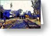 Tanker Train Greeting Cards - Van Gogh.s Train Depot . 7D11636 Greeting Card by Wingsdomain Art and Photography