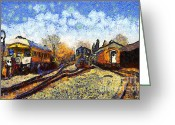 Railroad Tracks Greeting Cards - Van Gogh.s Train Station 7D11513 Greeting Card by Wingsdomain Art and Photography