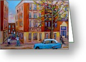 Baseball Game Greeting Cards - Van Horne Boulevard Montreal Street Scene Greeting Card by Carole Spandau