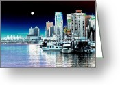 Moonrise Digital Art Greeting Cards - Vancouver Harbor Moonrise  Greeting Card by Will Borden