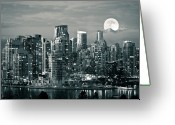Illuminated Greeting Cards - Vancouver Moonrise Greeting Card by Lloyd K. Barnes Photography