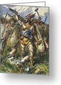 Barbarian Greeting Cards - Vandal Invasion Of Rome Greeting Card by Granger