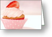 Whipped Topping Greeting Cards - Vanilla cupcake with stawberry frosting and strawberriy Greeting Card by David Smith