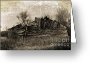 Abandon Digital Art Greeting Cards - Vanishing Barn Greeting Card by Ms Judi