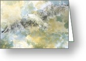 White Digital Art Greeting Cards - Vanishing Seagull Greeting Card by Melanie Viola
