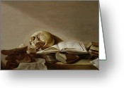 Pre-19thc Greeting Cards - Vanitas Greeting Card by Jan Davidsz de Heem