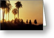 Charro Greeting Cards - Vaqueros Return After Putting Cattle Greeting Card by O. Louis Mazzatenta