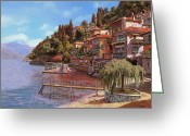 Docks Greeting Cards - Varenna on Lake Como Greeting Card by Guido Borelli