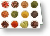 Chili Greeting Cards - Variety of different spices iin bowls  Greeting Card by Sandra Cunningham