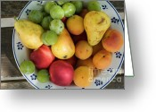 Apricots Photo Greeting Cards - Variety of fresh summer fruit on a plate Greeting Card by Sami Sarkis