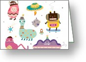 Overalls Greeting Cards - Various Creature Greeting Card by Eastnine Inc.