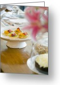 Stargazer Lilies Greeting Cards - Various Foods on Table Greeting Card by Shannon Fagan