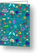Seashell Art Greeting Cards - Various Items On A Teal Background Greeting Card by Lana Sundman