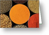 Directly Above Greeting Cards - Various Kind Of Spices Greeting Card by PKG Photography