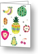 Guava Greeting Cards - Various Kinds Of Fruit Greeting Card by Eastnine Inc.