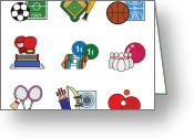 Table Tennis Greeting Cards - Various Sports Greeting Card by Eastnine Inc.